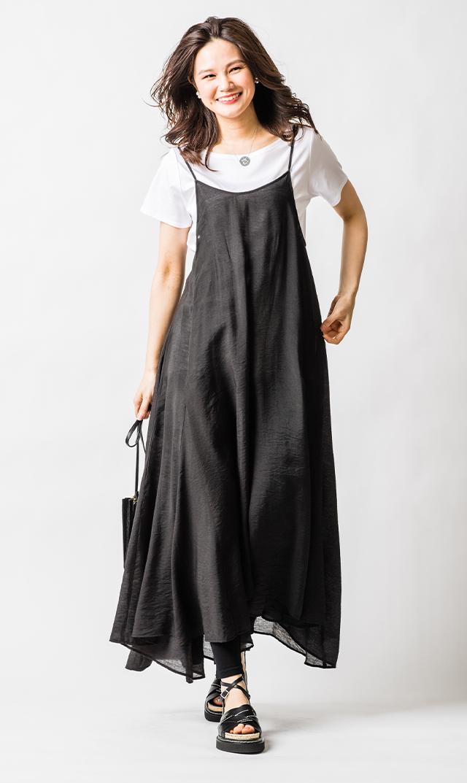 【ノーメント】ダブルショルダードレス(ブラック)