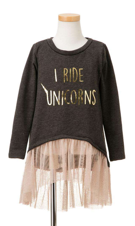 【Ohbaby!(オーベイビー】I Ride Unicornsチュチュドレス(チャコール)2-8歳