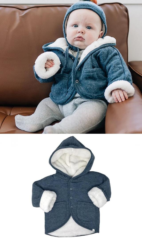 【オーベイビー】スノードリフトフードジャケット(デニムブルー)18ヶ月-3歳