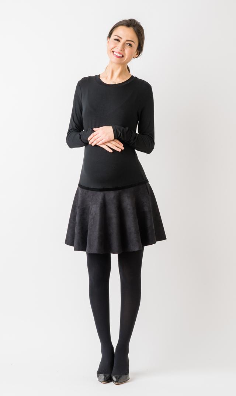 【オリアン(OLIAN)】カーティアクルーネックドレス(ブラック)