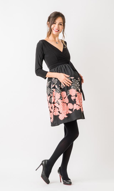 【オリアン(OLIAN)】フローラルラップドレス(ブラック×ピンク)