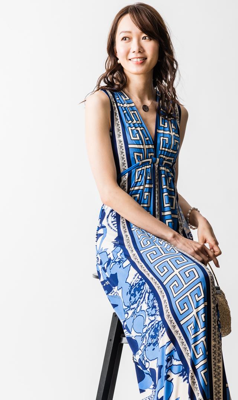 【オリアン(OLIAN)】イラーナマキシドレス(ブルー×ホワイト)