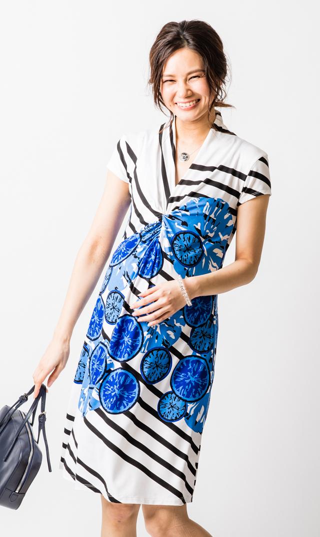 【オリアン】VIRINA別注ティファニードレス(ブルー×ホワイト)