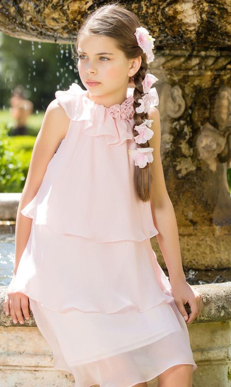 【パタシュー(Patacho)】ティアードドレス(ペールピンク)/2歳-4歳