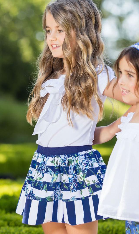 【パタシュー(Patacho)】ストライプ×フラワースカート(ブルー)/2歳-6歳