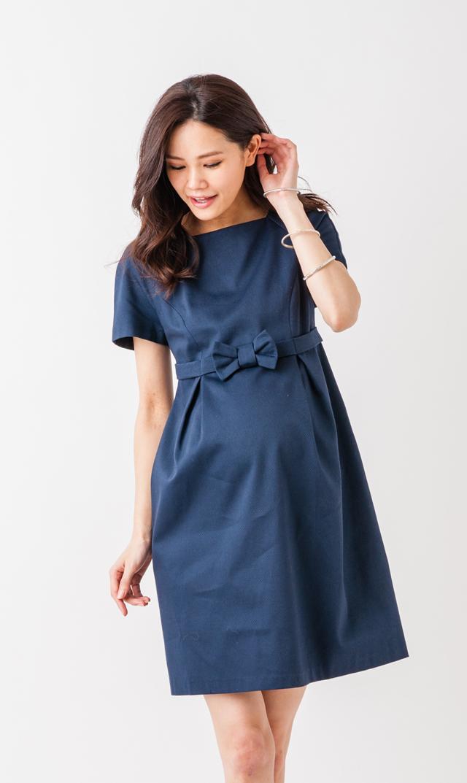 【ポーラヤンツ(PAULA JANZ maternity)】カクテルリボンドレス(ネイビー×ブルー)