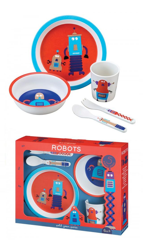 【プチ ジュール パリ(Petit Jour Paris)】メラミン キッズギフト ボックス5点セット(ロボット)