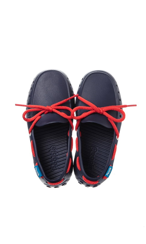 【ピープル フットウェア(People Footwear)】THE SENNA水陸両用レースアップキッズデッキシューズ(ネイビー×レッド)