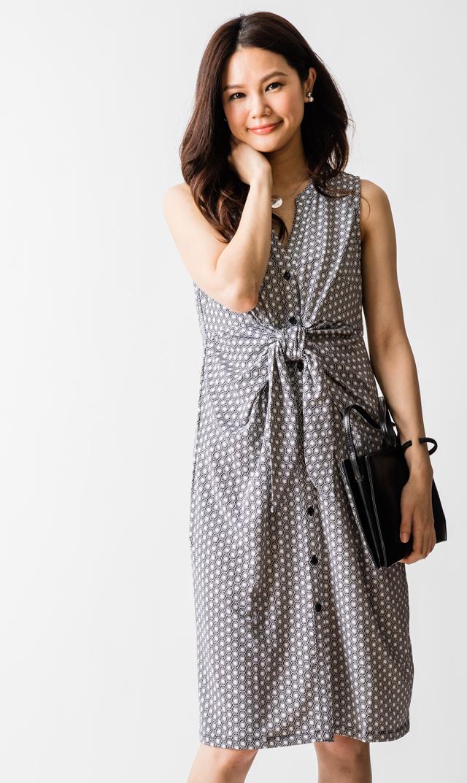 【ライプ(RIPE)】ジオカレスドレス(ブラック×ホワイト)