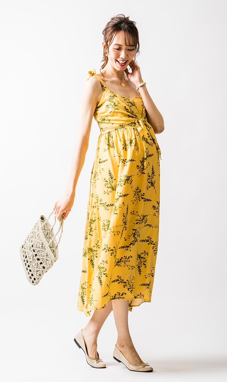 【ライプ】オードリータイフロントナーシングドレス(イエロー)