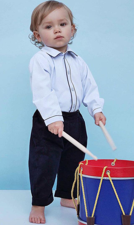 【レイチェルライリー(Rachel Riley)】コードズボン&シャツセット(ネイビー&ブルー)/6ヶ月-2歳