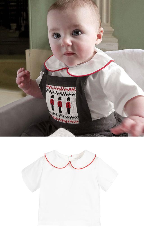 【レイチェルライリー(Rachel Riley)】ピーターパンカラーシャツ(アイボリー×レッド)/6ヶ月-2歳