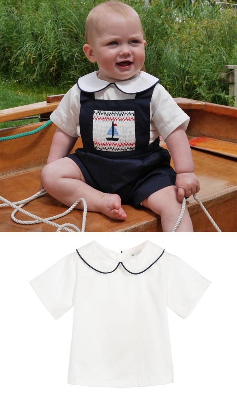 【レイチェルライリー(Rachel Riley)】ピーターパンカラーシャツ(アイボリー×ネイビー)/6ヶ月-2歳