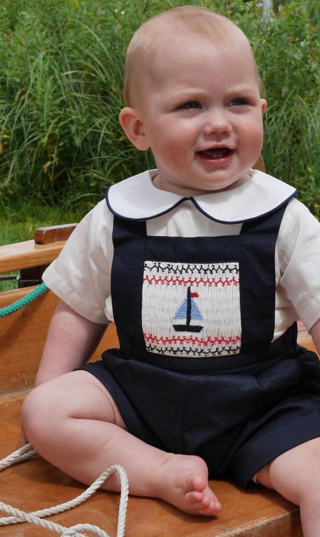 【レイチェルライリー(Rachel Riley)】ヨットスモックダンガリー(ネイビー)/6ヶ月-2歳