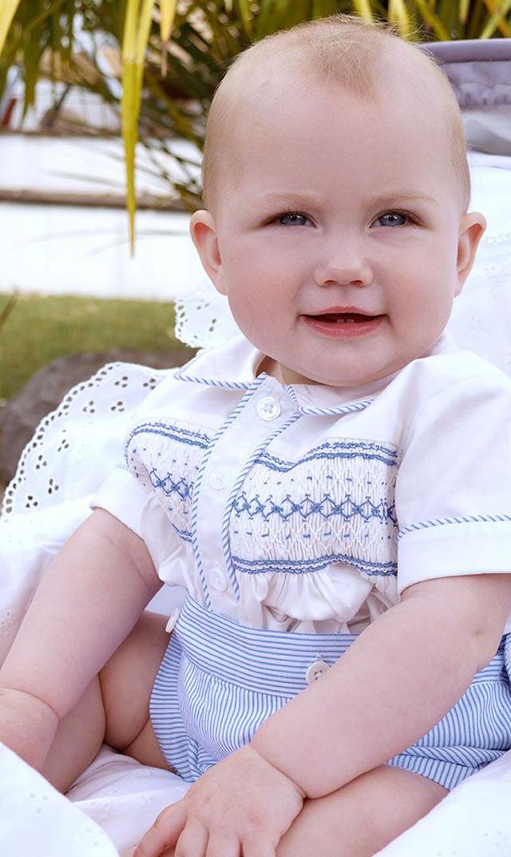 【レイチェルライリー(Rachel Riley)】ストライプスモックセット(ブルー×アイボリー)/6ヶ月-18ヶ月