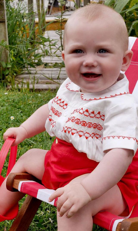 【レイチェルライリー(Rachel Riley)】ストライプスモックセット(レッド×アイボリー)/6ヶ月-18ヶ月