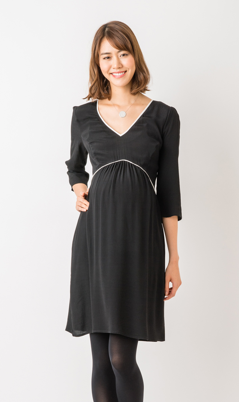 【セラフィン(seraphine)】シャーロットドレス(ブラック×アイボリー)