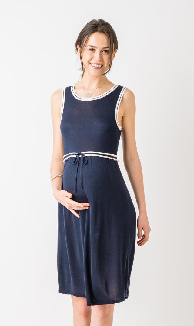 【セラフィン(seraphine)】ジョーダンサマーニットドレス(ネイビー×ホワイト)