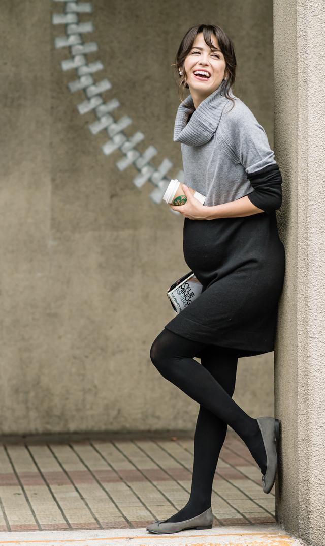 【セラフィン(seraphine)】フラヴィアナーシングニットドレス(グレー×ブラック)