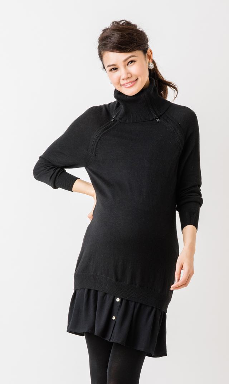 【セラフィン(seraphine) 】イレーナナーシングニットドレス(ブラック)