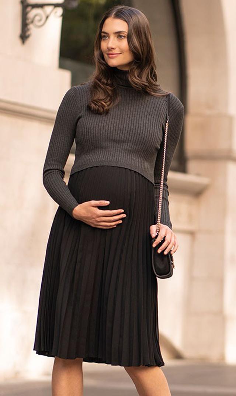 【セラフィン】マリータートルネックニットナーシングドレス(チャコール×ブラック)