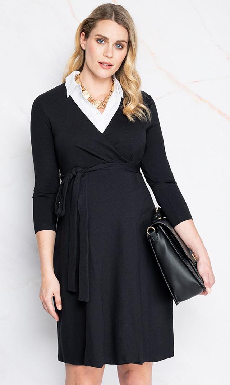 【セラフィン(seraphine)】ケンドラ襟付きラップドレス(ブラック)