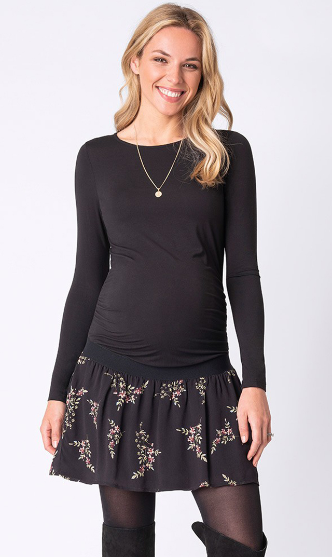 【セラフィン(seraphine)】レアフラワープリントスカートドレス(ブラック)