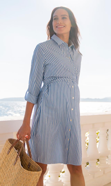 【セラフィン(seraphine)】アリアドネラップナーシングシャツドレス(ブルーストライプ)