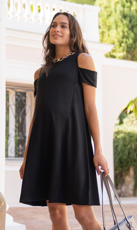 【セラフィン(seraphine)】オフショルダーナーシングドレス(ブラック)