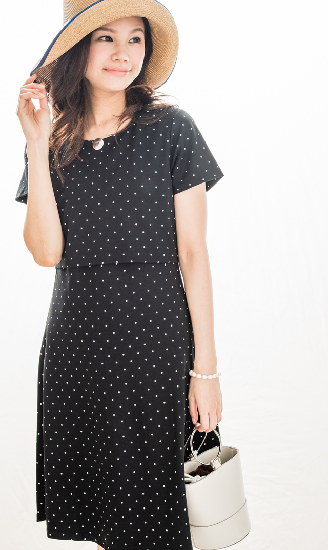 【セラフィン(seraphine)】チェシアナーシングドレス(ブラックドット)