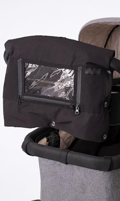 【セラフィン】タッチパネルポケット付きストーラー用ハンドマフ(ブラック)
