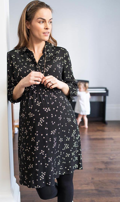 【セラフィン】カルメンシャツドレス(デイジー×ブラック)