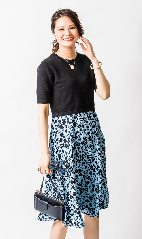 【セラフィン】フィリズナーシングドレス(ブラック×ブルーフラワー)