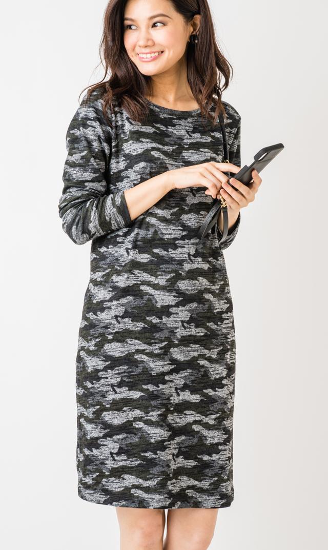 【スーパーマム(SUPER MOM)】ニットロングスリーブドレス(ブラックカモフラージュ)