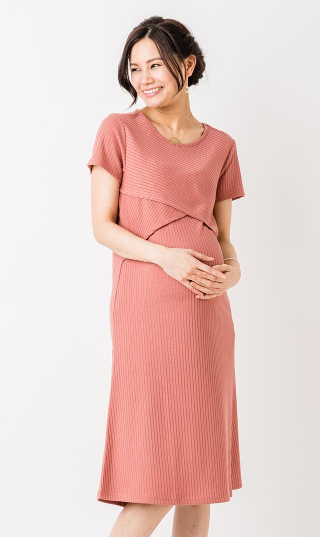 【スーパーマム(SUPER MOM)】リブニットナーシングドレス(ピンク)