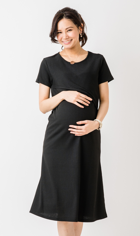 【スーパーマム(SUPER MOM)】リブニットナーシングドレス(ブラック)