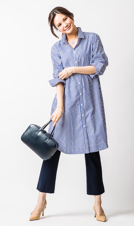 [マタニティ・授乳OK]【スーン】ヘーゼルシャツドレス(ブルーストライプ)