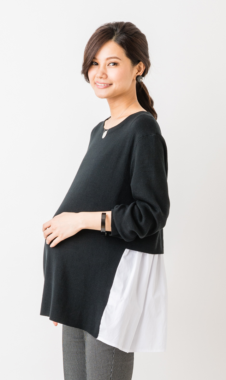 【スーン(SOON)】グレイスバックシャツコンビニット(ブラック)