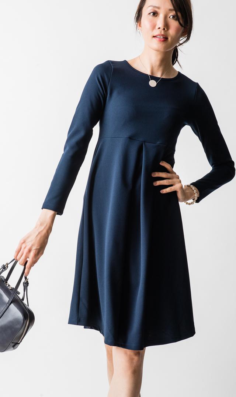 【スーン(SOON)】キーラボックスプリーツドレス(ネイビー)