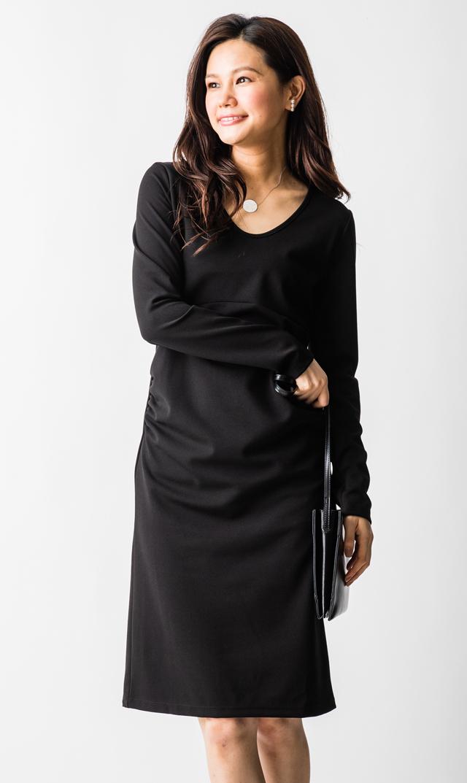 【スーン(SOON)】スリロングスリーブドレス(ブラック)