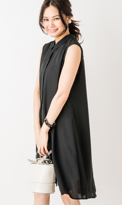【スーン(SOON)】エヴァプリーツバックドレス(ブラック)