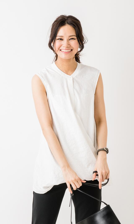 【スーン(SOON)】リブノースリーブシャツ(ホワイト)