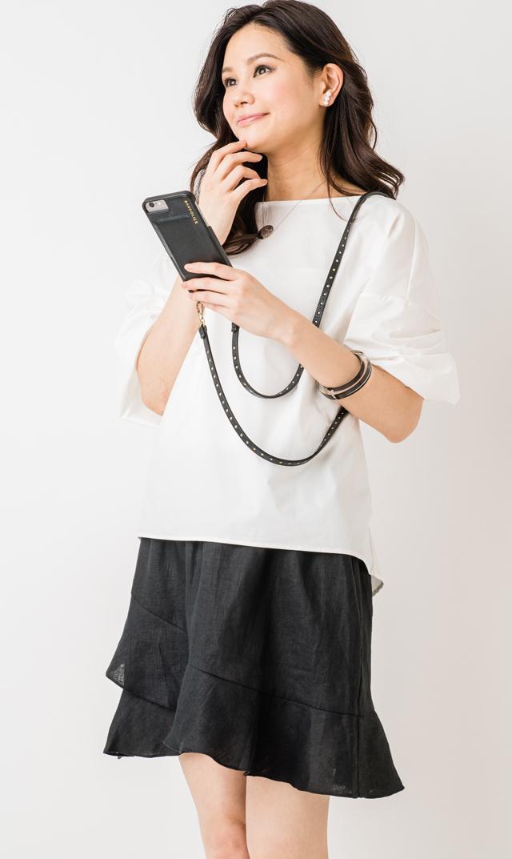 【スーン】サマーフリルスカート(ブラック)