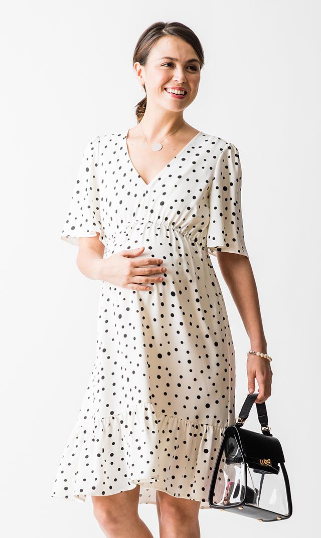 【スーン】アニカフリルドットドレス(ホワイト)