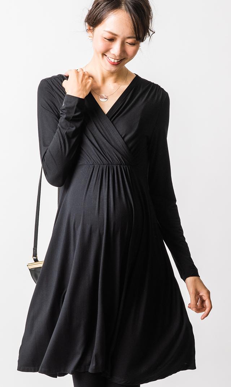 [マタニティ・授乳OK]【スーン】リオロングスリーブドレス(ブラック)