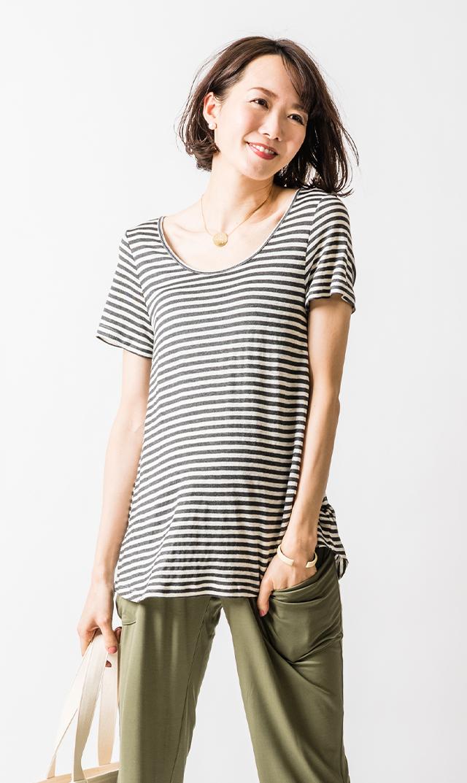 【スーン】パーフェクトフィッティングナーシングTシャツ(グレーストライプ)