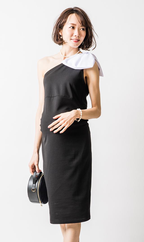 【スーン】ヴェロニカリボンドレス(ブラック×ホワイト)