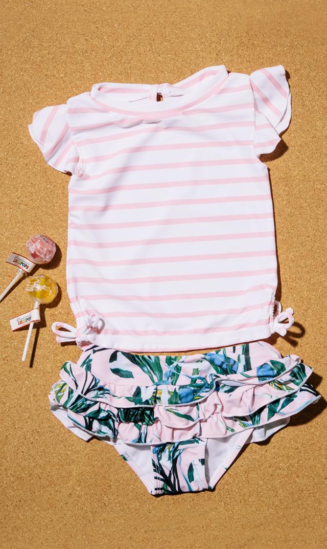 【スナッパーロック(Snapper Rock)】ラッシュガード&ラッフルスカートセット(パーム)/18ヶ月-3歳