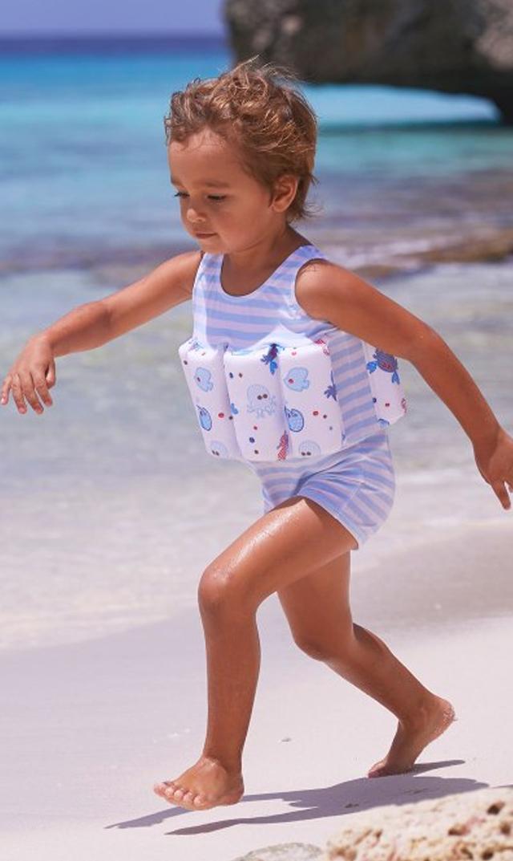 【スヌーヴァ(sunuva)】ブイ付きスイムウエア(ライトブルー×ホワイト)/1歳-3歳