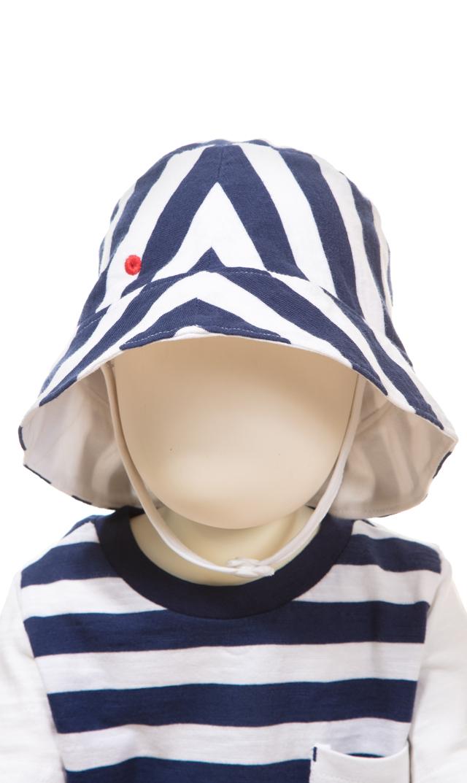 【スヌーヴァ(sunuva)】ベビージャージーサンハット(ネイビー×ホワイト)/3ヶ月-24ヶ月